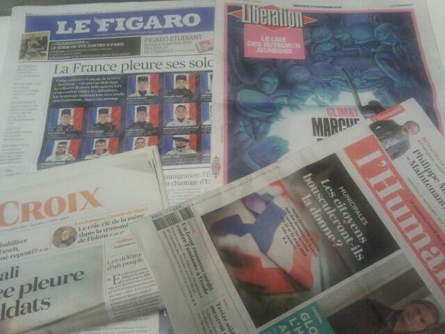 Primeiras páginas dos jornais franceses 27 de novembro de 2019
