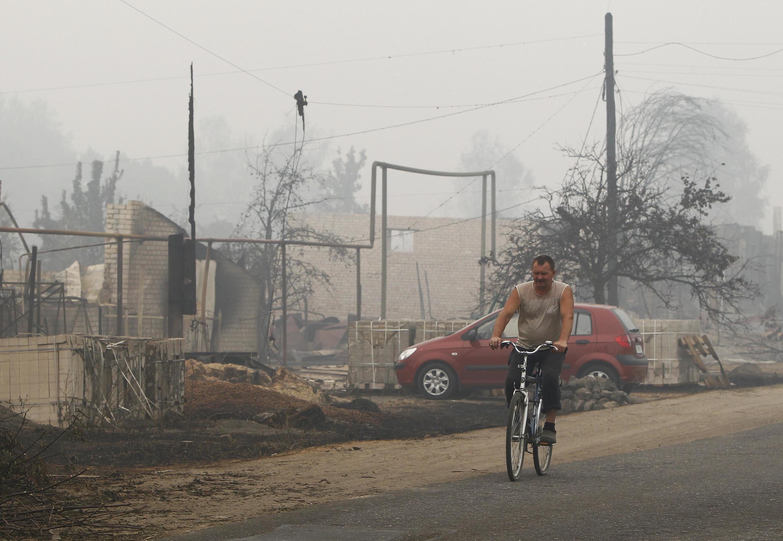 Сгоревшая деревня Борковка в 150 км от Нижнего Новгорода 31 июля 2010 года