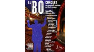 Affiche dé l'évènement «BO Concert» avec notamment Jean-Michel Bernard, compositeur.