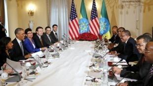 دیدار باراک اوباما رئیس جمهوری آمریکا و هیأت همراهش، با  Hailemariam Desalegn نخستوزیر اتیوپی. ۵ مرداد/ ٢٧ ژوئیه ٢٠١۵