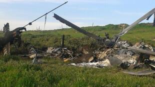 Un Mi-24 de l'aviation d'Azerbaïdjan «crashé», prise en photo par les forces séparatistes du Haut-Karabagh, le 2 avril 2016.
