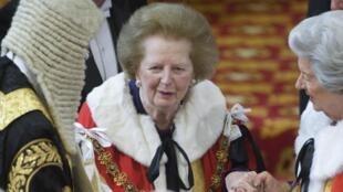 La ex primera ministra británica, Margaret Thatcher en la sesiónd de apertura