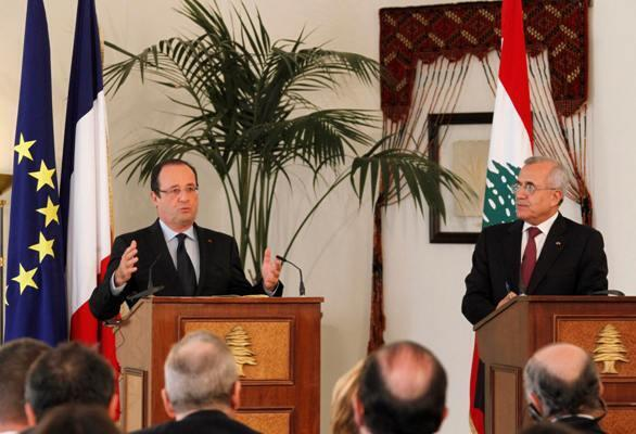 France's President Francois Hollande speaks during a joint news conference with his Lebanese counterpart Michel Suleiman at the