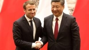 Emmanuel Macron y Xi Jinping, el 9 de enero 2018.
