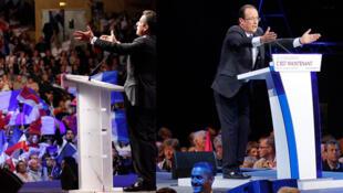 Ứng cử viên Nicolas Sarkozy (trái) và François Hollande trong chiến dịch tranh cử tổng thống (Ảnh ghép).