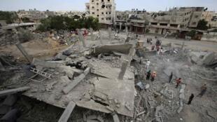 Cảnh nhà bị oanh kích tại Gaza ngay sau khi lệnh ngưng bắn có hiệu lưc ngày 02/08/2014.