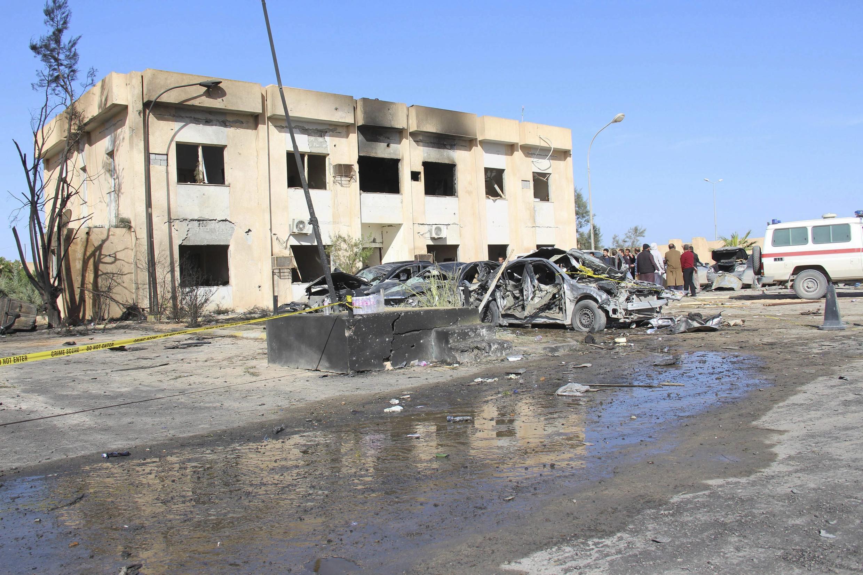 Trung tâm huấn luyện cảnh sát ở Zliten, Libya sau vụ tấn công tự sát ngày 07/01/2015.