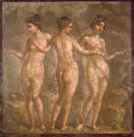 Les Trois Muses. Fragment de décoration de la maison de Titus Dentatius Panthera à Pompéi, (54-68 ap.J.C.)