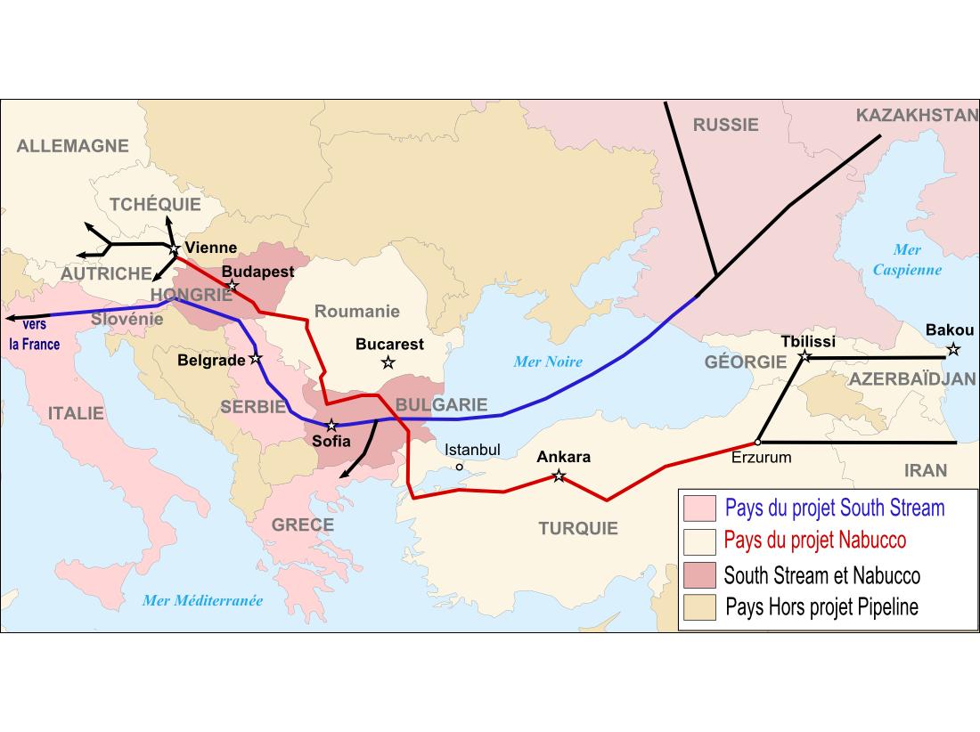 Tracés des gazoducs via l'Europe du Sud : South Stream en bleu et Nabucco en rouge, ce dernier a été abandonné.