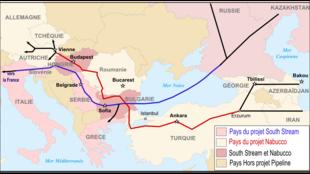 Tracés des futurs gazoducs via l'Europe du Sud : South Stream en bleu et Nabucco en rouge. (8 janvier 2008)