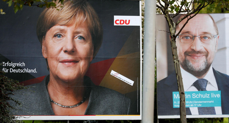 德國兩大政黨競選總統候選人海報 2017年9月11日