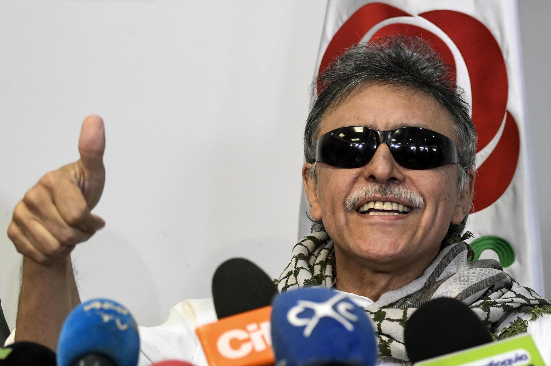El exguerrillero de las FARC Jesús Santrich, el 30 de mayo de 2019 durante una conferencia de prensa en Bogotá