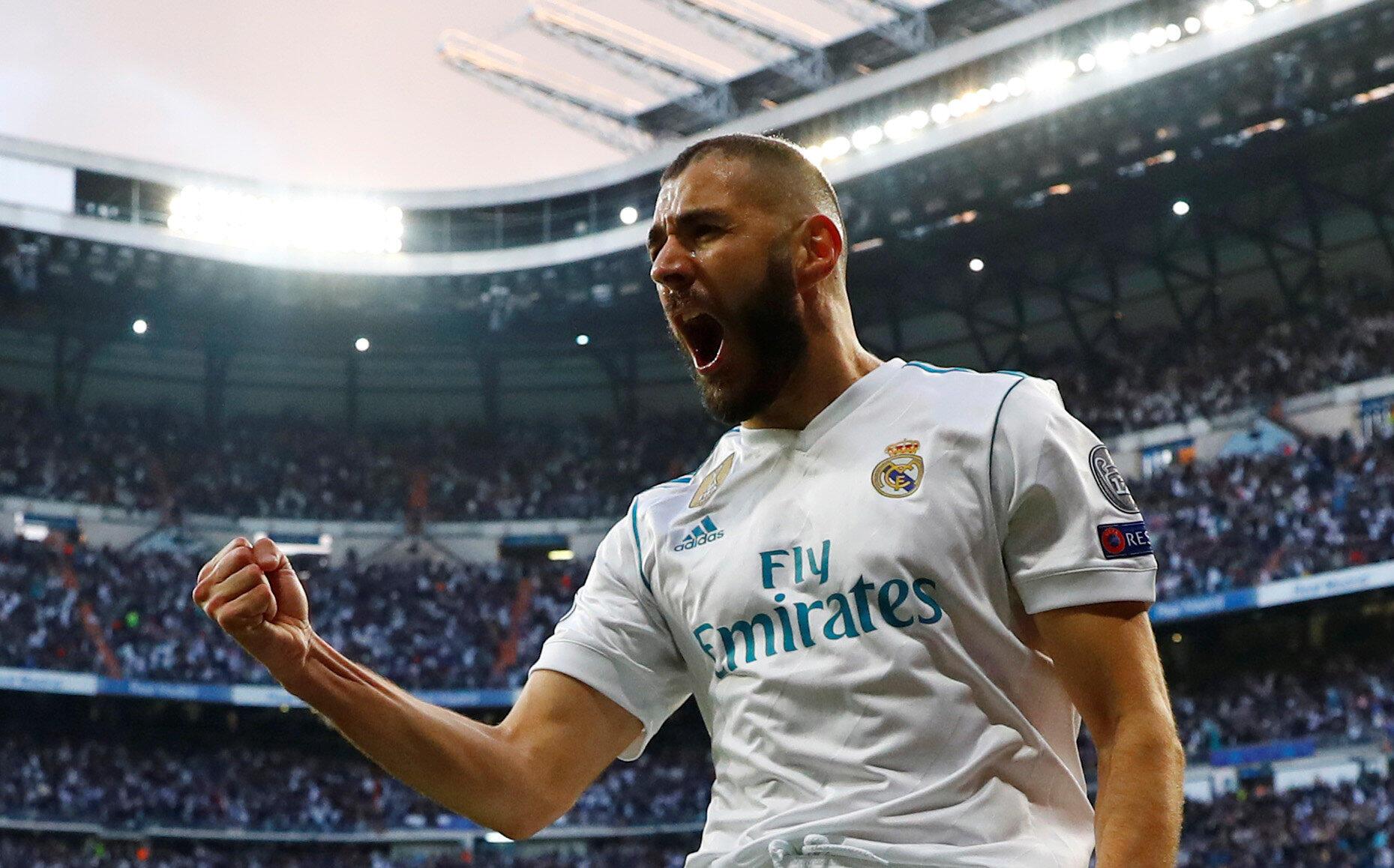 L'attaquant français Karim Benzema a inscrit un doublé pour le Real Madrid face au Bayern Munich, le 1er mai 2018.