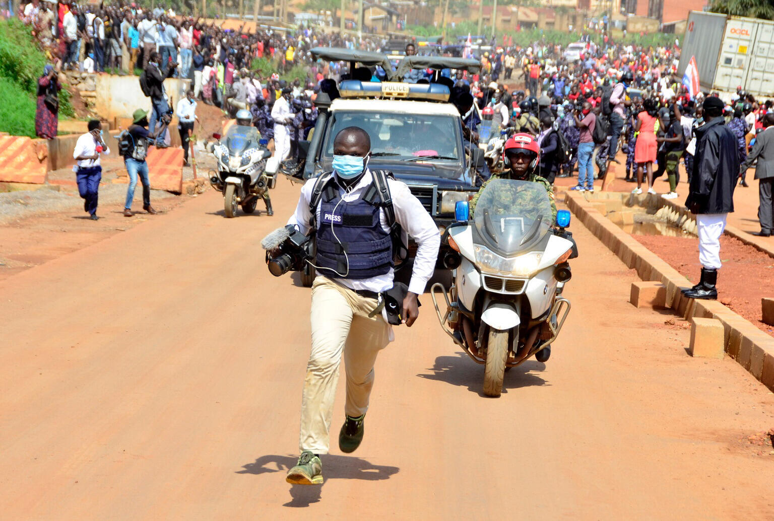 Uganda journalists Moses Bwayo shot in face by police