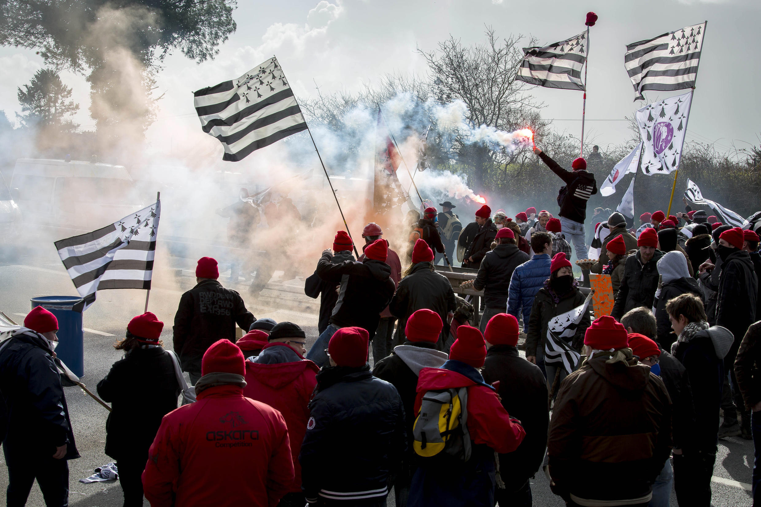 Breton flags on an anti-ecotax protest in 2014