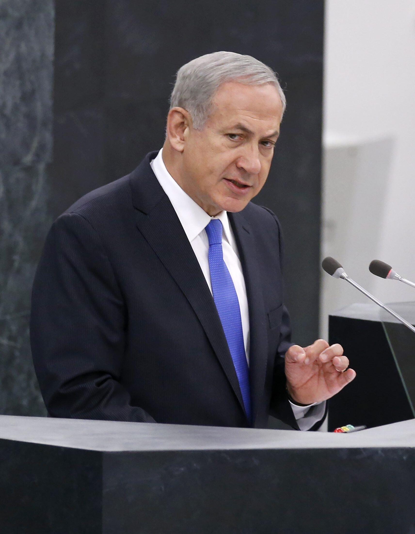O primeiro-ministro de Israel, Benjamin Netanyahou, durante discurso na tribuna da Assembleia Geral da ONU em 1° de outubro de 2013.