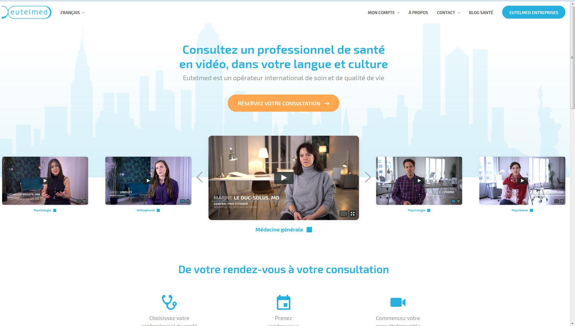 La page d'accueil d'Eutelmed