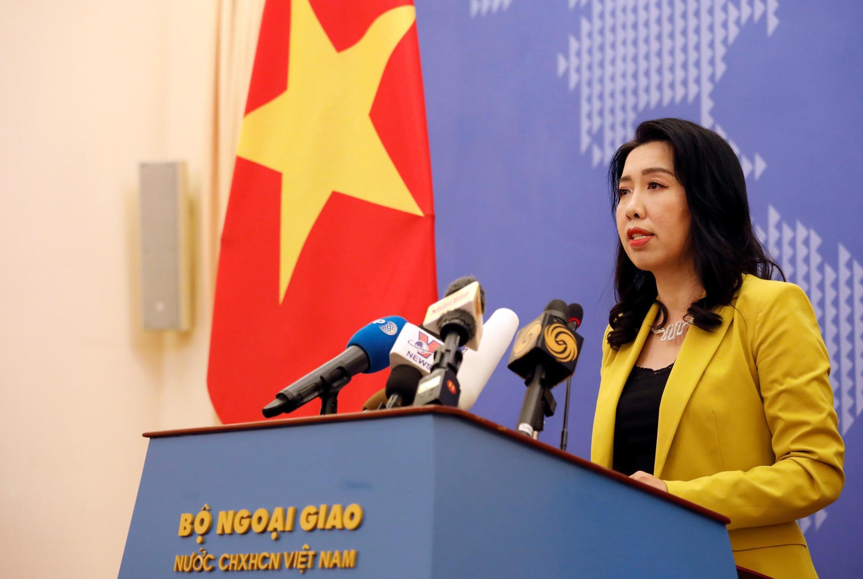 Phát ngôn viên bộ Ngoại Giao Việt Nam Lê Thị Thu Hằng trong cuộc họp báo, Hà Nội, ngày 25/07/2019