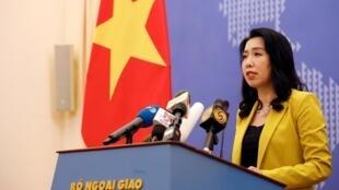 Phát ngôn viên bộ Ngoại Giao Việt Nam Lê Thị Thu Hằng trong cuộc họp báo tại Hà Nội, ngày 25/07/2019.