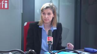 法国工业部长帕涅-鲁纳歇(Agnès Pannier-Runacher)在法广RFI接受采访的资料照片2020年7月