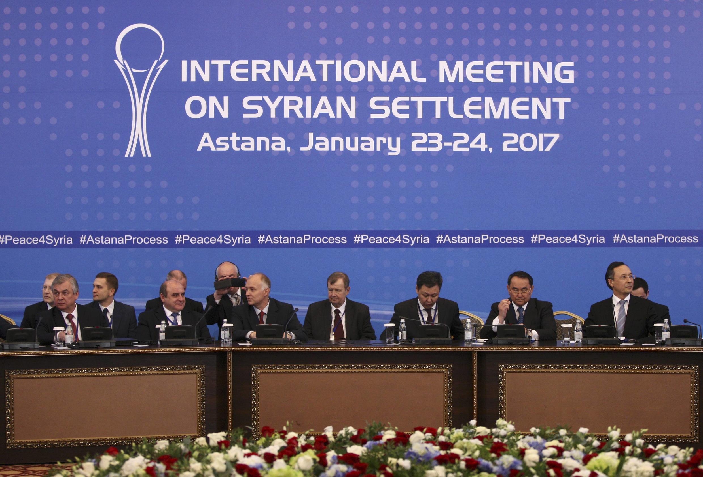 Mazungumzo ya amani kuhusu Syria yafadhiliwa na Urusi, Uturuki na Iran katika mji wa Astana, nchini Kazakhstan, Januari 23, 2017.
