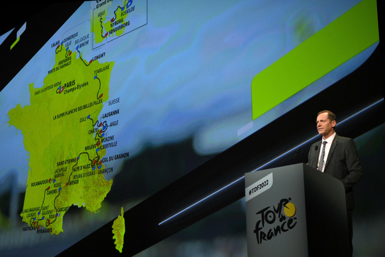 Директор Тур де Франс Кристиан Прюдомм представляет маршрут 2022 годаours de l'édition 2022 de l'épreuve cycliste à Paris, le 14 octobre 2021