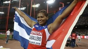 Denia Caballero (Cuba) celebrando después de ganar el bronce olímpico. Río 16 agosto 2016