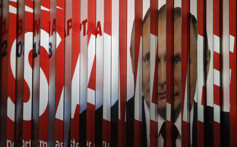 Un panneau publicitaire du candidat Poutine pour la campagne électorale russe de mars 2018, en janvier à Moscou.