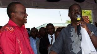 Kenyatta and Odinga attend a prayer meeting in Nairobi ahead of Kenya's 2013 polls, February 2013.