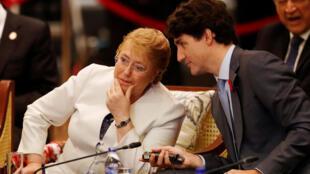 图为加拿大总理特鲁多与智利总统巴士莱特在越南亚太经合峰会