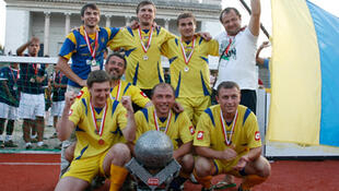 Team Ukraine celebrates winning the 2009 Homeless World Cup in Milan.