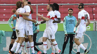 Stuttgart's players celebrate their winning goal over Werder Bremen on Sunday