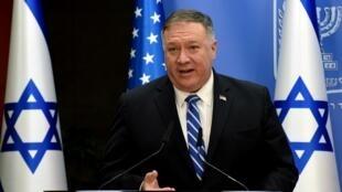 Mike Pompeo, chef de la diplomatie américaine, en visite à Jérusalem le 24 août 2020.