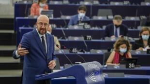 El presidente del Consejo Europeo, Charles Michel, en la sesión plenaria del parlamento europeo en Estrasburgo, Francia, el 9 de junio de 2021