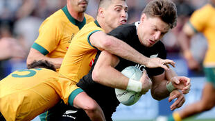 Beauden Barrett (R) played at fullback for New Zealand