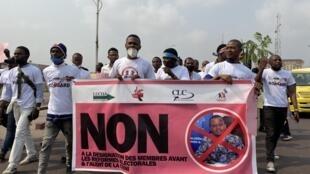 Précédente mobilisation contre la nomination de Ronsard Malonda à la tête de la Céni, le samedi 4 juillet 2020 à Kinshasa.