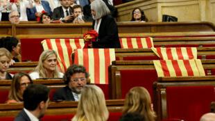 Sessão parlamentar que aprovou, no início de setembro, a realização de um referendo pró-independência no dia 1º de outubro, na Catalunha.