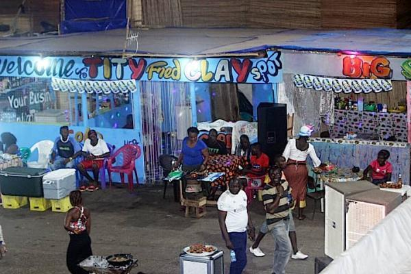 A famous food stall at a carnival held in the Siaka Stevens Stadium, Freetown, Sierra Leone.