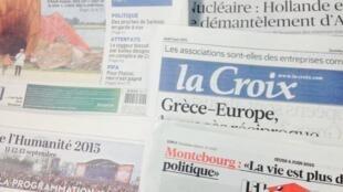 Primeira página dos diários franceses de 4/06/2015