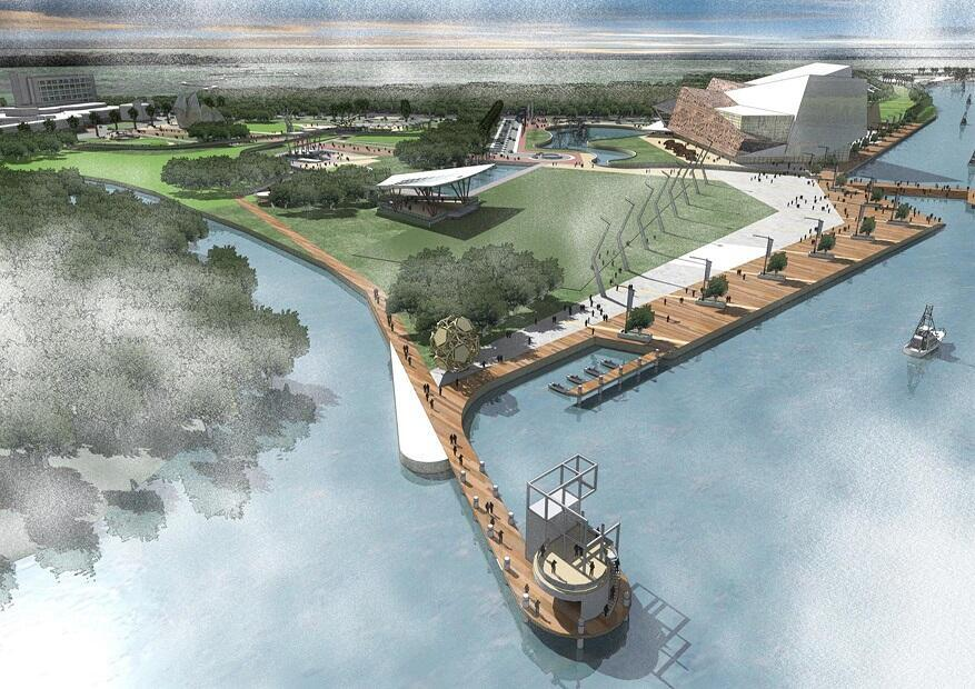 Vue d'artiste du port d'Oyo et de la zone économique spéciale attenante, lorsque l'intégralité du projet sera menée à terme.