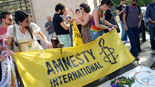 Des membres d'Amnesty International à Rome, le 15 juin 2016.