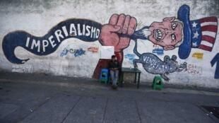 Kibonzo kinachoashiria kupigwa vita kwa Marekani katika mji wa Caracas, Machi 9 mwaka 2015.