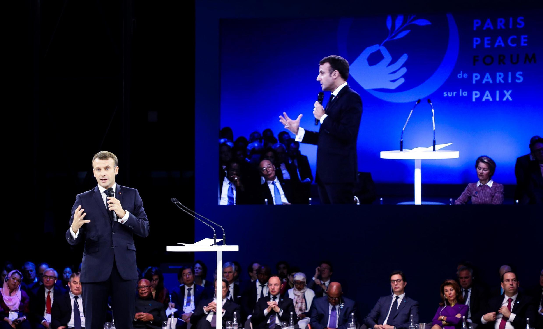 Le président français, Emmanuel Macron, lors du 2e Forum sur la paix à Paris, le 12 novembre 2019.