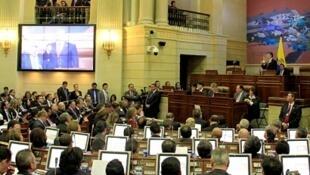El presidente Santos durante la instalación del nuevo Congreso colombiano.