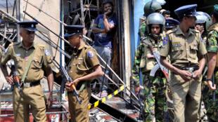 Lực lượng cảnh sát được triển khai sau một vụ đụng độ giữa hai cộng đồng ở Kandy, Sri Lanka, ngày 06/03/2018.