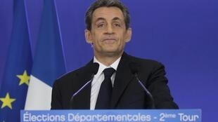 Nicolas Sarkozy as results of last weekend's departmental elections were announced