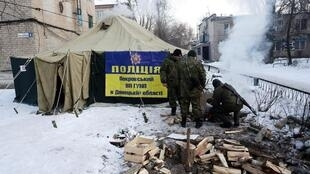 Một lều trại của binh sĩ Ukraina tại Avdiivka (about 20,000 people).