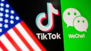 Cờ Mỹ bên cạnh các logo của Tik Tok và WeChat. Ảnh chụp ngày 18/09/2020.
