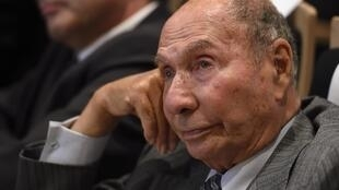 This file photo taken on September 29, 2015 shows Serge Dassault, Chairman and CEO of Dassault Group and Les Republicains' French Senator attending a debate between candidates for the regional election in the region Ile-de-France in Paris.
