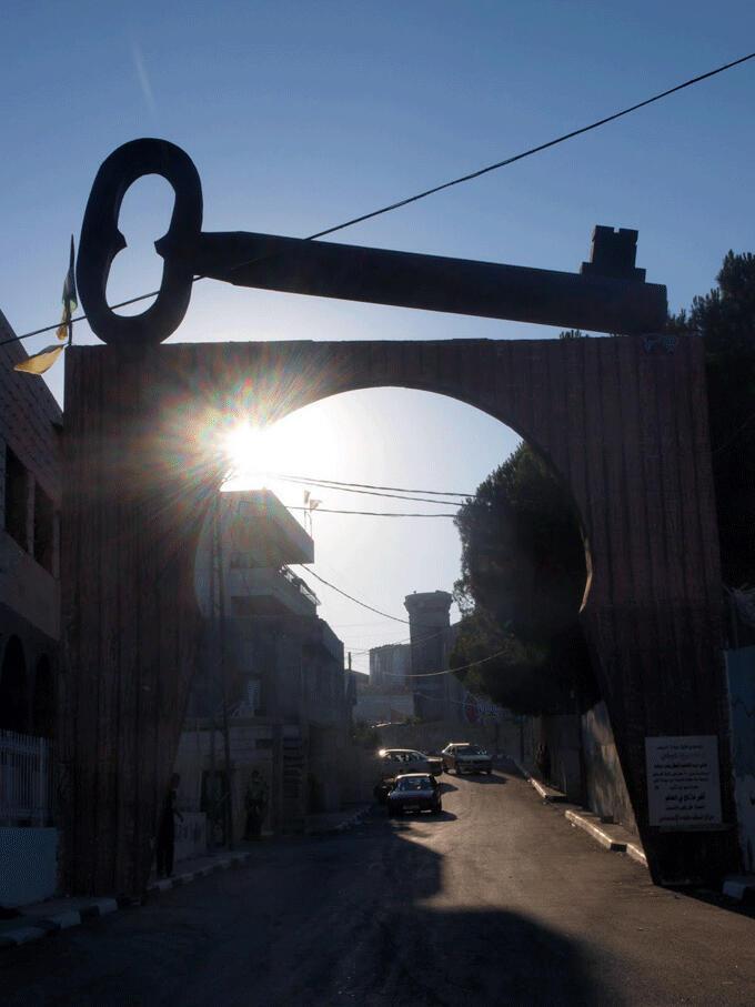 Entrada al campamento de refugiados Aída, en Belén, Cisjordania.